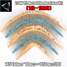 New Electric Unit 1450Pcs 145Values Each 10Pcs 1/4W Metal Film Resistor Assortment Box Kit 1% Torlerance Resistor Resistors Pack