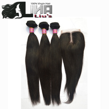 Lina Hair Products with Closures Peruvian Virgin Hair Straight with Closure 3/4pcs Peruvian Hair Weaves Bundles with Closure