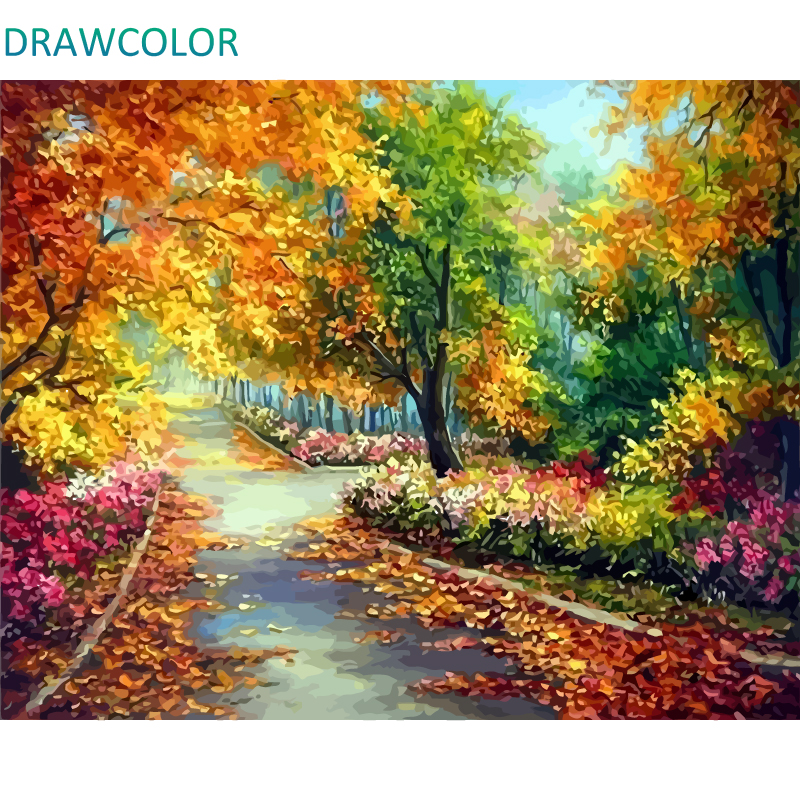 DRAWCOLOR Frame Autumn Landscape DIY Painting By Numbers Acrylic Paint On Canvas Modern Wall Art Painting & Calligraphy 40x50cm