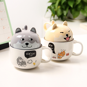 Image 4 - With Cover Cute Dog Cat Claw Coffee Tea Mug Cherry Double Layer Ceramic Juice Cup Transparent Pink Milk Mug Water Cup