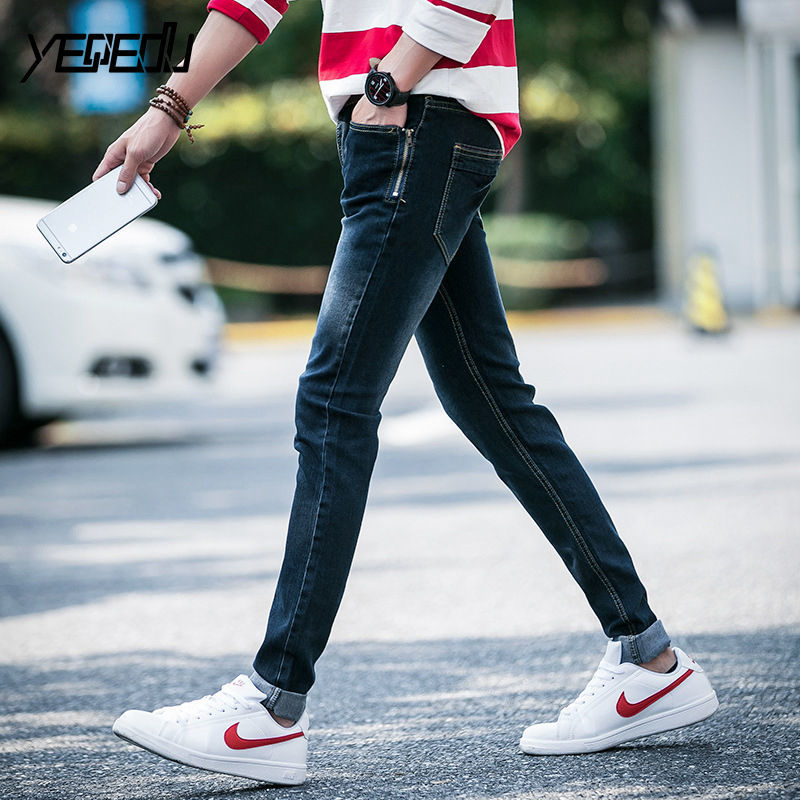 #1423 Spring 2018 Stretch denim Skinny jeans for men Blue jean slim homme Teens Fashion Fake zipper Pencil jeans masculino