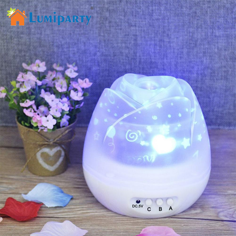 LumiParty Romantic Rose LED Night Lamp Starry Sky Rotation Projector Lamp USB Rechargeable Kids Baby Sleeping Night Lights
