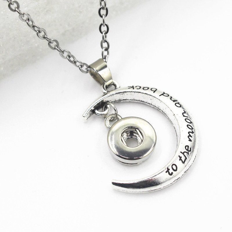 12mm <font><b>Snap</b></font> <font><b>Button</b></font> <font><b>Necklace</b></font> to the moon and back <font><b>Snap</b></font> Pendant <font><b>Buttons</b></font> <font><b>Snap</b></font> <font><b>Necklace</b></font> Jewelry With <font><b>Necklace</b></font> Chain 50cm image