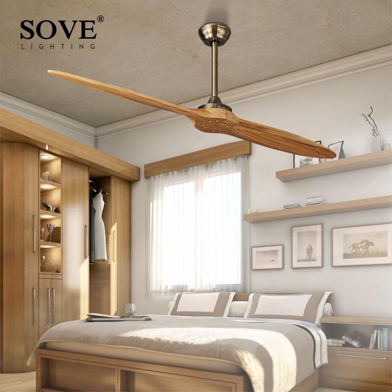 SOVE Village Bronze Wooden Dc Ceiling Fan Remote Control Wood Decorative Ceiling Fans Without Light Fan