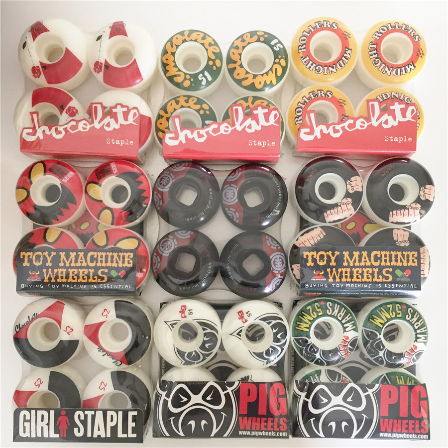 USA 4pcs Skateboard Wheels 52/53/54/56mm Multi Graphics Skateboarding Wheels For Double Rocker SPEED CUIRSER Rodas Skate