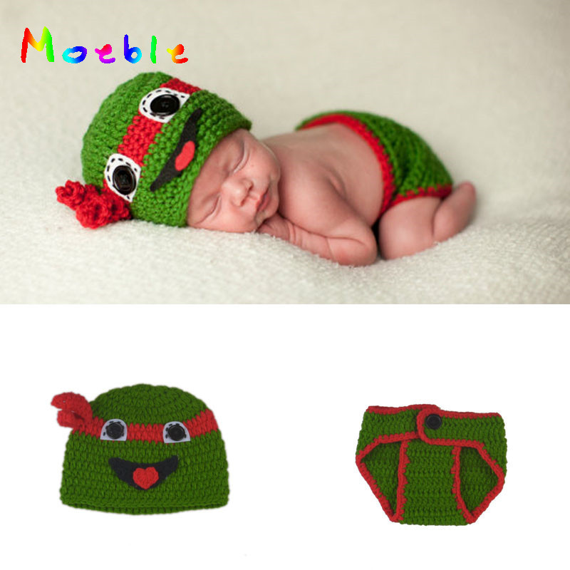 4960b4e0c US $2.18 41% OFF|Hot! Newborn Baby Boys Ninja Turtle Costume Crochet Baby  Turtle Photography Props Knitted Baby Winter Hat&Diaper Set MZS 16068-in ...