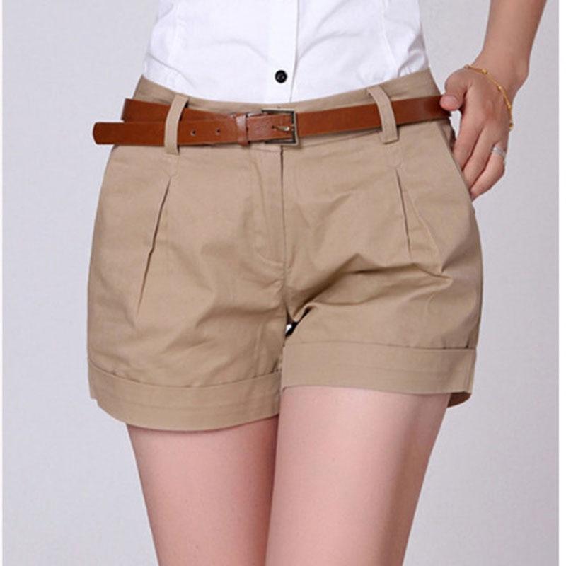 Hot Sale Summer   Shorts   Women Casual New Fashion Draped Summer   Shorts   Pockets Zipper Solid Khaki / White