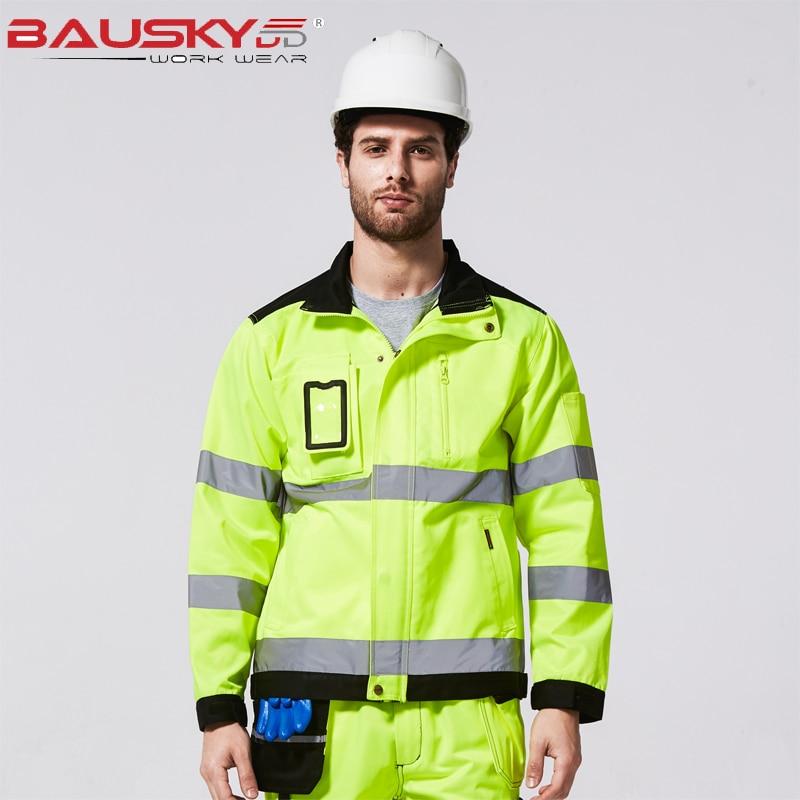 Hi Vis Reflective Jacket Men Tops Workwear Multi-pocket Safety Reflective Work jacket Fluorescent Yellow Black Oxford Куртка