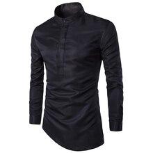 Ношение подол социальной косой клубы ночные camisa клуб сорочка masculina homme