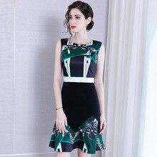 Summer Dress 2019 Women's New Sexy Empire Waist Slim Ruffles Round Neck Sleeveless Fashion Printed Mermaid Dress Knee Length