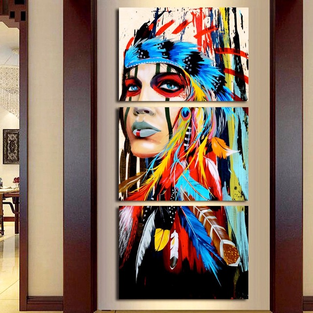 Amazing 3 Pieces Native American Girl Feathered Women Modern Home Wall Decor Canvas  Picture Art HD Print