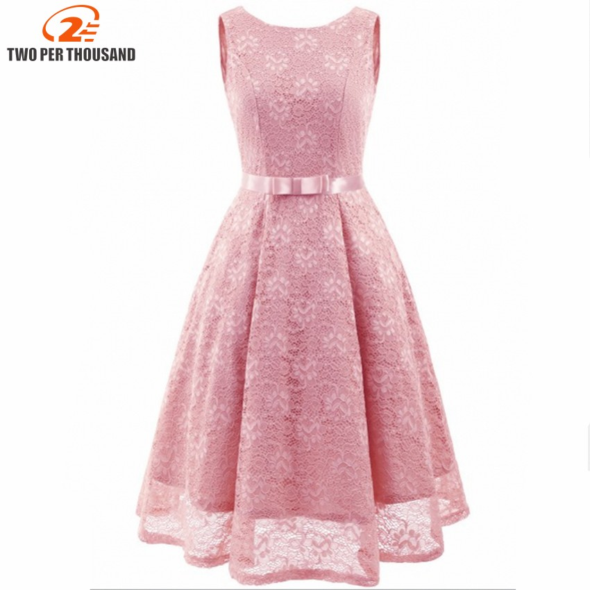 94517736bc4 Summer Pink Lace Dress Vintage Female 2018 Sleeveless Casual Plus Size Sundress  Women Solid Elegant Princess Party Dress Vestido