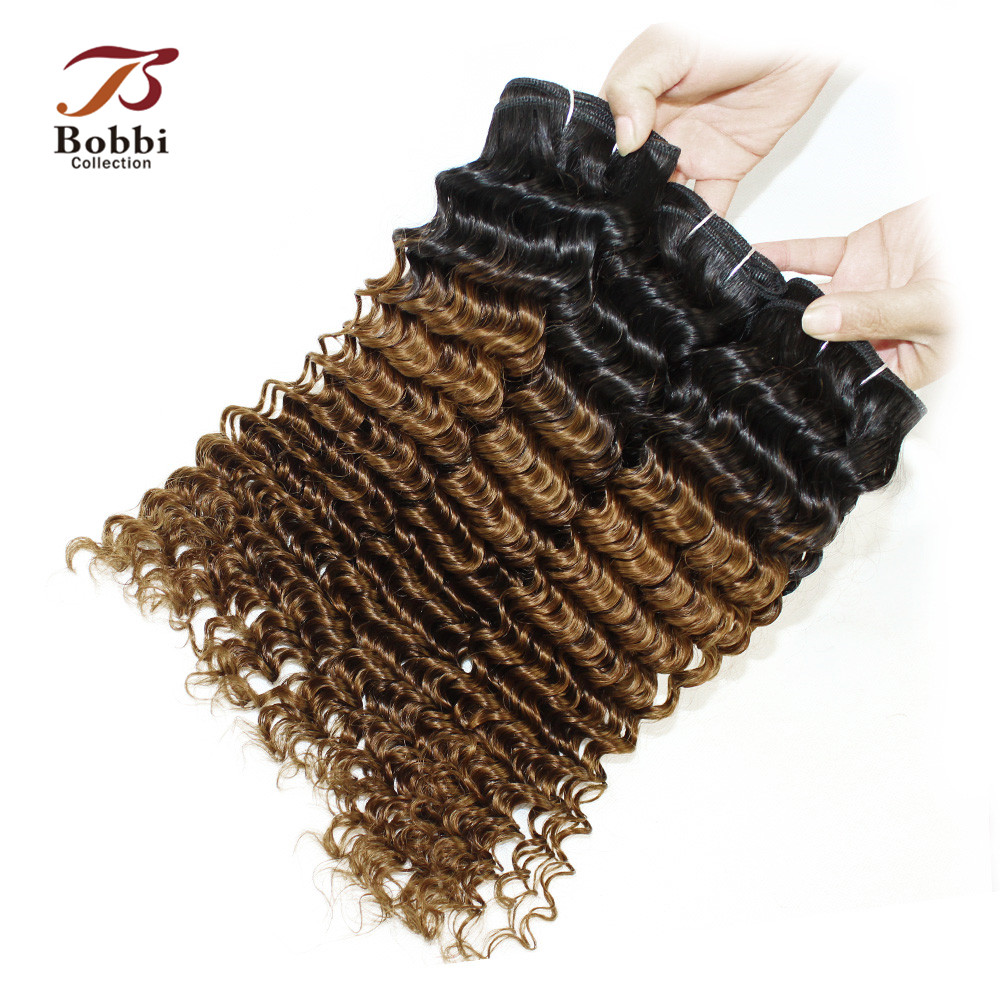 3 Bundles Deep Curly Ombre Brazilian Hair Weave Two Tone T 1B 30 Non-Remy Human Hair Extension Bobbi Collection