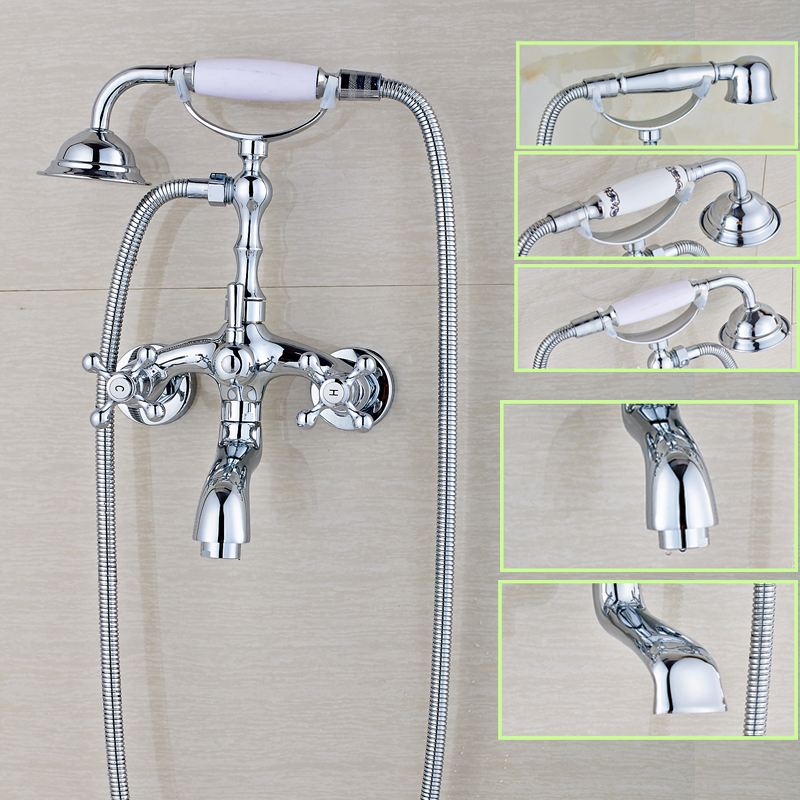 Telephone Style Dual Handle Handheld Bathtub Sink Faucet Wall Mounted Chrome Brass Rotate Tub Spout Mixer Taps труборез birzman front tube cutter bm08 ftc