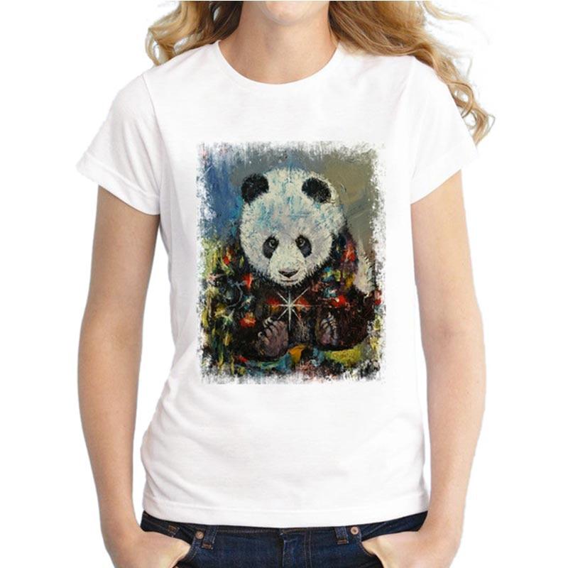 2018 Funny Women Stanta Pug T Shirts Christmas Panda Tops Novelty Fashion T-Shirt Short Sleeve Vintage Printing Tee