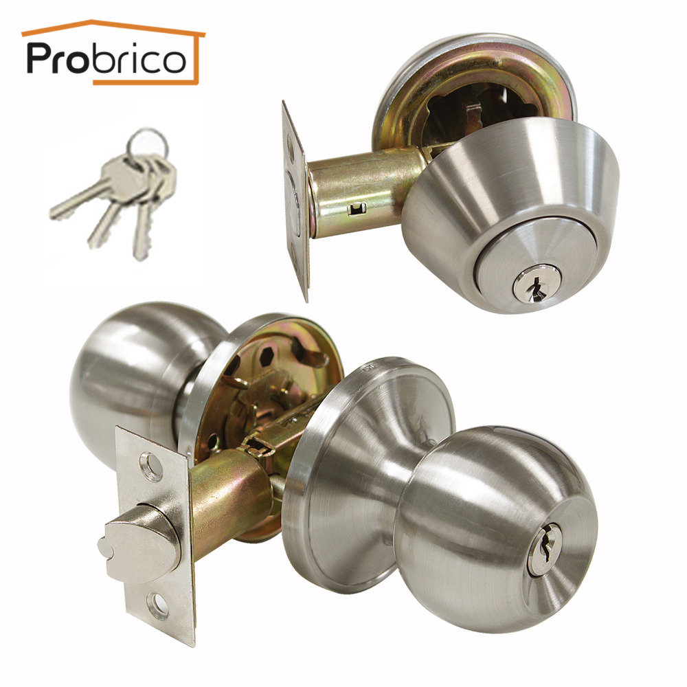 Probrico Double Cylinder Lockset Door Knobs Satin Nickel keyed Alike Locks Hardware For Front Exterior And Interior Anti -TheftProbrico Double Cylinder Lockset Door Knobs Satin Nickel keyed Alike Locks Hardware For Front Exterior And Interior Anti -Theft