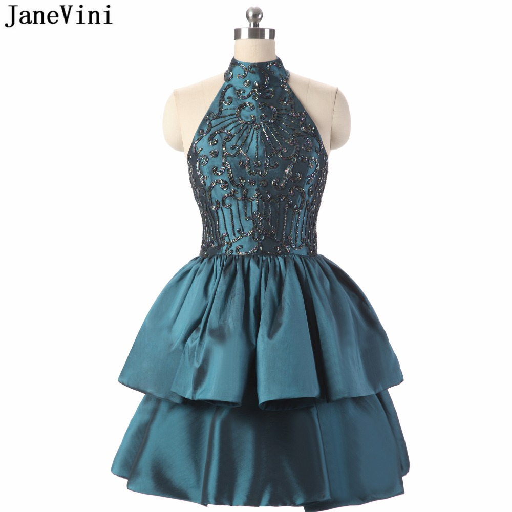 JaneVini 2018 Vintage Short Plus Size Bridesmaid Dresses With Beading A Line High Neck Backless Satin Women Formal Party Gowns