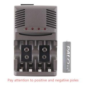 Image 3 - Светодиодный светильник PALO C819, умное зарядное устройство для никель металлогидридных аккумуляторов, аккумуляторных батарей типа AA/AAA, для литий ионных батарей, 9 В, 6F22, вилка стандарта США и ЕС
