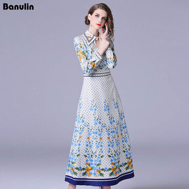14d47862b275 Runway Designer Maxi Dress Women 2018 Robe Longue Femme Summer Dress Shirt  Work Casual Floral Print Long Sleeve Long Dresses