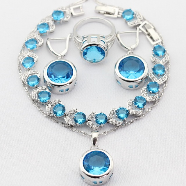 Charms Silver Color Women Jewelry Sets Imitated Blue CZ Necklace Pendant Drop Earrings Rings Bracelet Christmas Gift