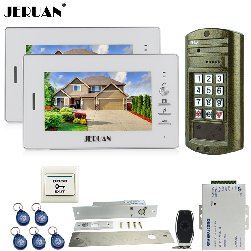 JERUAN 7`` Video Door Phone Intercom System kit 2 Monitor+NEW Metal Waterproof Access password keypad HD Mini Camera 1V2 jeruan home 7 inch video door phone intercom system kit new metal waterproof access password keypad hd mini camera 2 monitor
