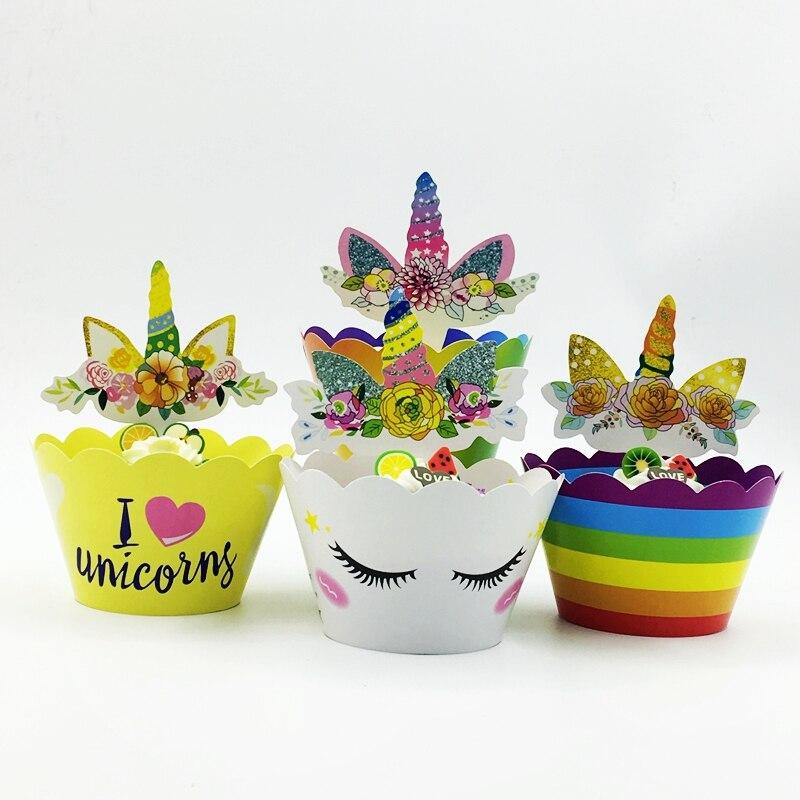120 Stks Cupcake Wrappers Topper Candy Multicolor Regenboog Bloemen Eenhoorn Verlegen Smiley Ogen Mooie Decoratie Party Cupcake Gevallen