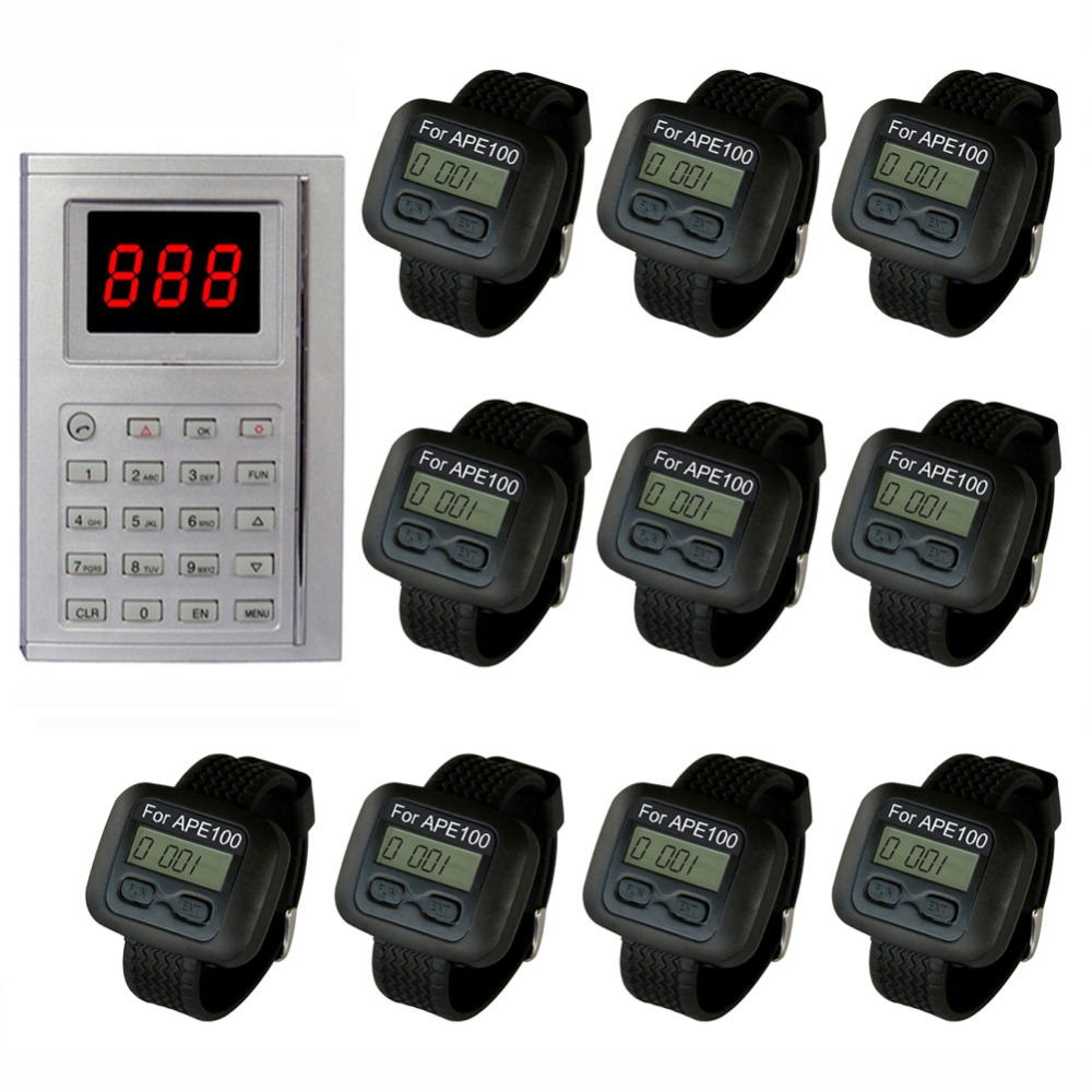 singcall.Kitchen call system. Chef can press a button to buzzer a waiter to pick up the already dishes.10 pcs watch display. 2 receivers 60 buzzers wireless restaurant buzzer caller table call calling button waiter pager system