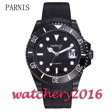 New 40mm Parnis black dial ceramic bezel luminous marks sapphire glass date adjust Automatic movement Men