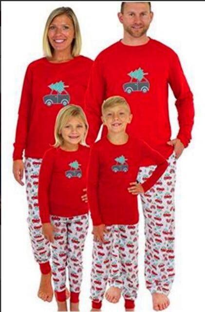 Weihnachten Pyjama Familie.Eltern Und Kinder Herbst 2018 Familie Kleidung Weihnachten Pyjamas Set Rot Cartoon Gedruckt Langarm Hause Outfits