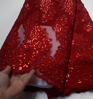 (5yards/pc) high quality African party lace fabric laser cut embroidered lace farbc with sequins and beads for party FLP118