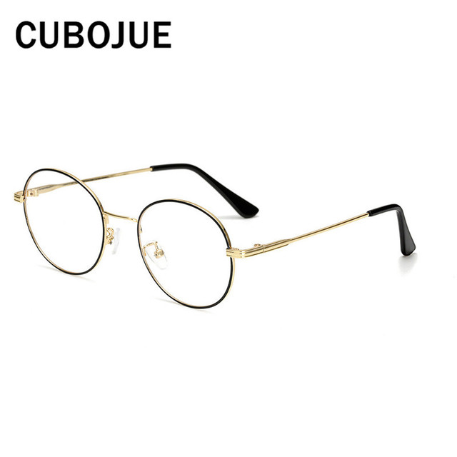 0ea97cb3528 Cubojue 46mm Round Glasses Men Woman Vintage Small Eyeglasses Frames  Spectacles with Plain Lens Circle Nerd