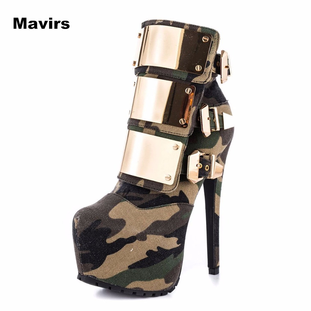 Mavirs Fashion Metal Camouflage Round Toe Brand New Plus Size Women Pumps Platform High Heels Boots Shoes Wedding Bride Party гарнитура genius hs g680 black