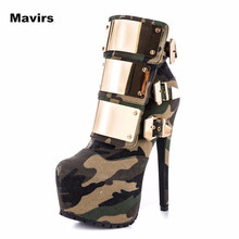 Mavirs Fashion Metal Camouflage Round Toe Brand New Plus Size Women Pumps Platform High Heels Boots Shoes Wedding Bride Party