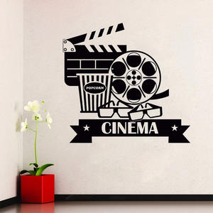 Cinema Wall Stickers Removable Vinyl  Movie House Wall Decal Popcorn Cinematography Decoration Cinema Destign Wall Poster AY789