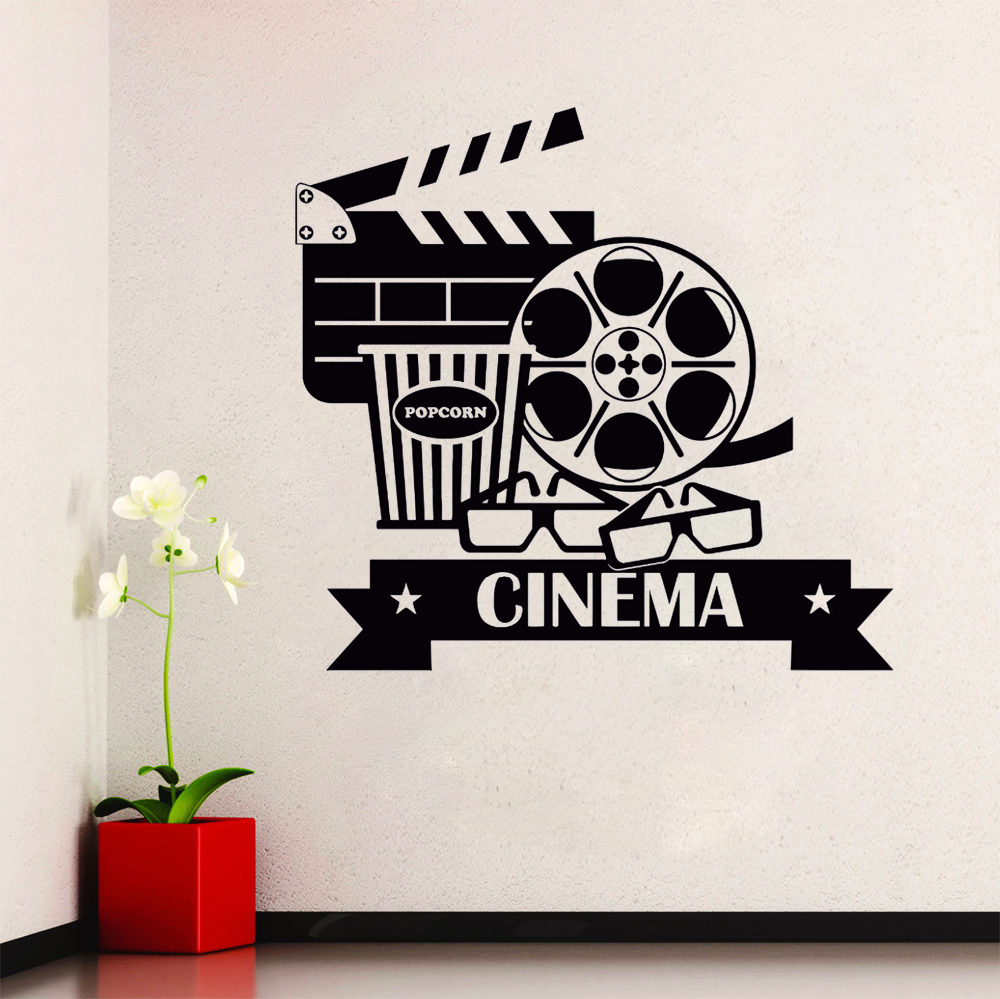 Cinema Wall Stickers Removable Vinyl Movie House Wall Decal Popcorn Cinematography Decoration Cinema Destign Wall Poster AY789 image