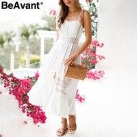 BeAvant Sexy hollow out white lace dress Women casual backless bow summer dress sundress High waist ruffle long dress vestidos