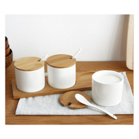 RSCHEF Kitchenware Ceramic Spice Jars Three piece Assembled Bamboo Basket with a spoon Wood cover