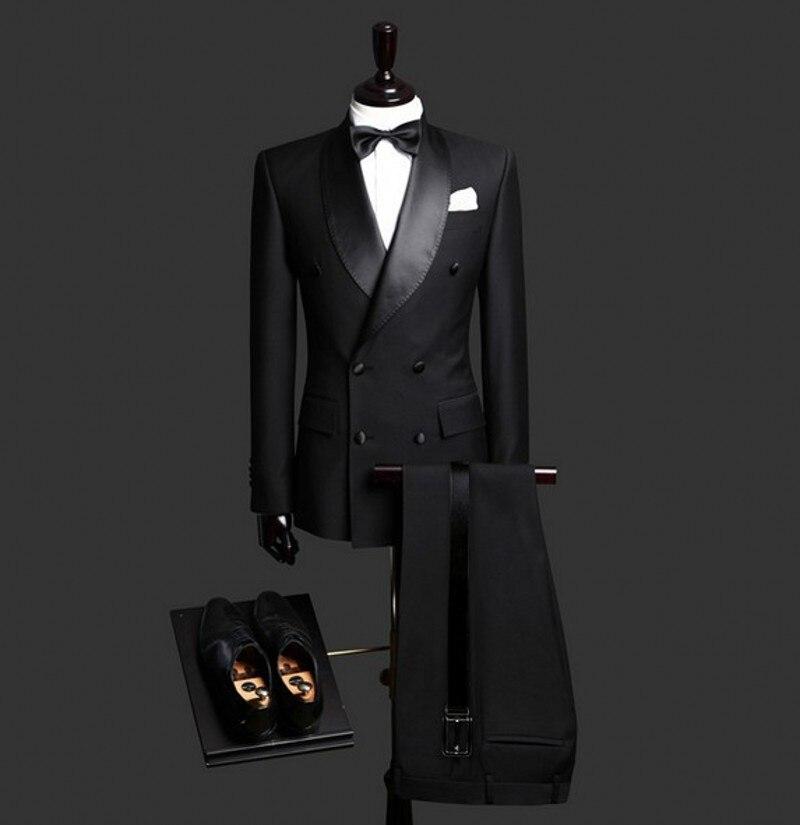 FOLOBE sur mesure noir Double boutonnage Slim Fit hommes costumes demoiselles d'honneur pour mariage formel affaires hommes costumes tenue décontracté