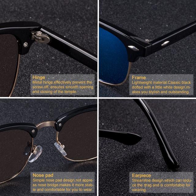 Half Metal Unisex Sunglasses UV400 (15 Colors)