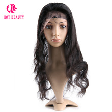 Hot Beauty Hair Brazilian Virgin Hair Body Wave 360 Lace Frontal Pre Plucked Human Hair Frontal Natural Color Free Shipping