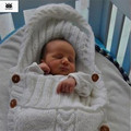 Saco de dormir del bebé recién nacido de punto de ganchillo saco saco de dormir bebe invierno con capucha sólido suave lana slaapzak gigoteuse pour dormir
