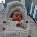 Saco térmico saco de dormir saco de dormir do bebê malha crochet newborn bebe inverno com capuz sólida lã macia slaapzak gigoteuse despeje dormir