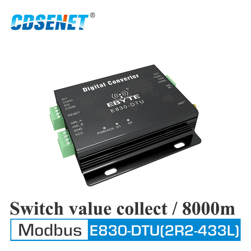 Switch Value Acquisition Wireless Transceiver 433MHz Modbus E830-DTU(2R2-433L) 8km Long Range Transmitter And Receiver