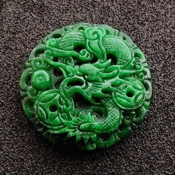 Natural jade dry Green Dragon Pendant emerald jade Tielong money Wangcai brand Pendant