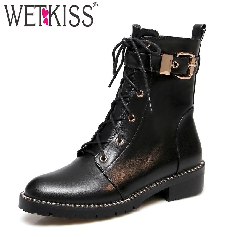 WETKISS Leather Women Ankle Boots Round Toe Lace Up Footwear Thick Heels Motorcycle Lady Boots Platform Shoes Woman 2018 Winter