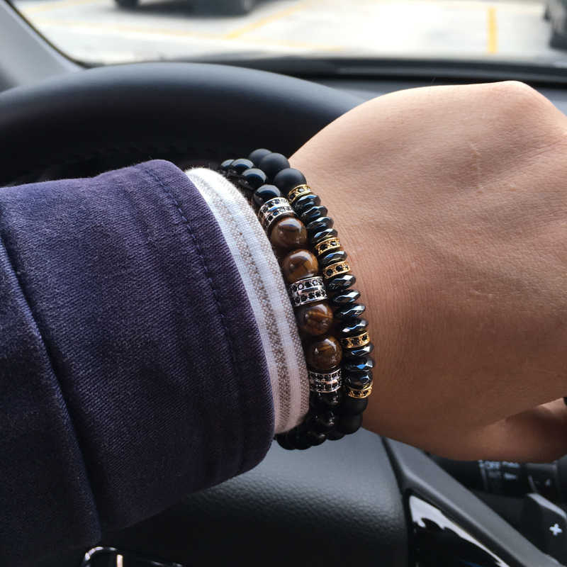 NAIQUBE Men Bracelet 2019 New Fashion Classic Round 8mm Beads Charm Bracelet For Men Jewelry Gift
