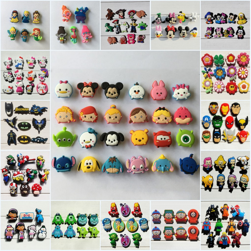 100PCS Mickey Sesame Street Cartoon PVC Shoe Charms Avenger Shoe Accessories Croc Decorations Jibz  Shoe Buckles Kids Gift
