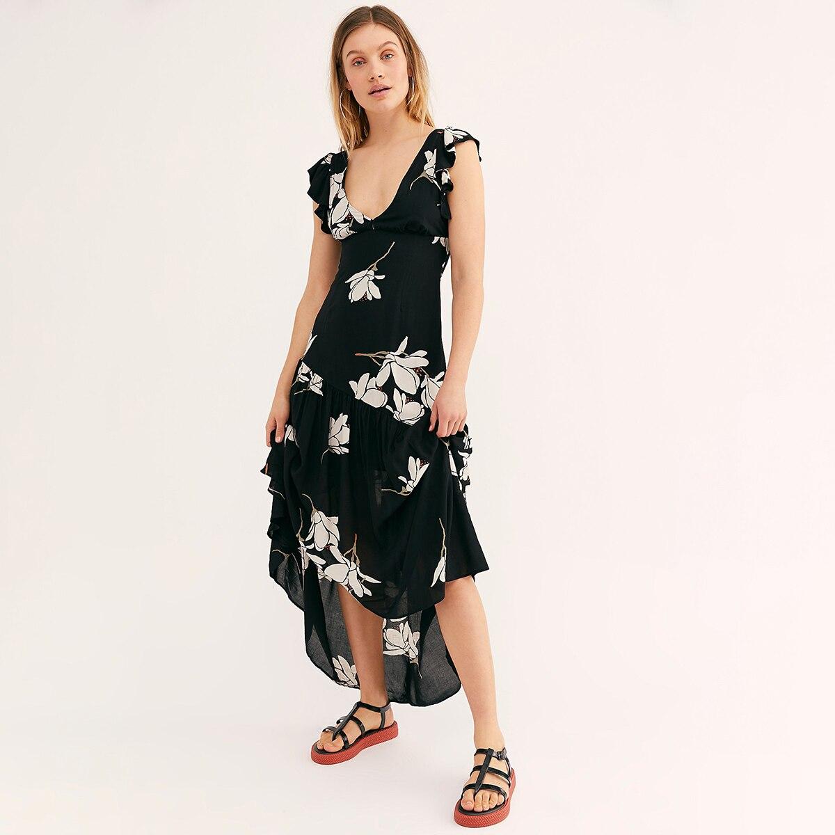 80e6f1476e Black Floral Print Maxi Dress Short Sleeve V-neck Long Dresses 2019 Boho  Asymmetrical Women