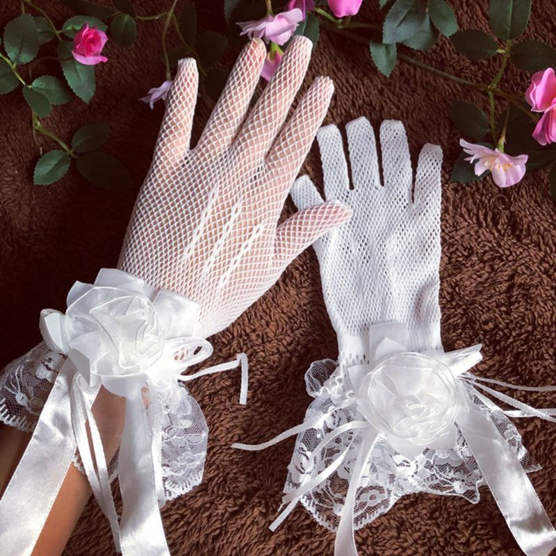 Fashion Bride Summer Wedding Dress Gloves Lace Large Flowers Short With Fingers Mittens Mesh Hollow Glove