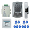Venta caliente completa puerta kit sistema de control de acceso V2000-C + y electric Huelga lock + power + botón de salida + 10 unids ID cards clave